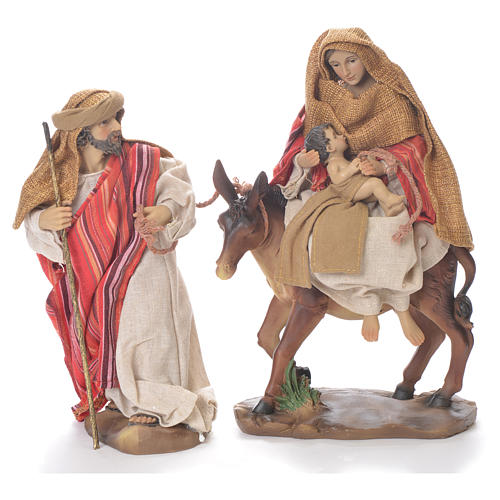 Flee from Egypt scene, 24cm in fabric and resin, red and beige colour 1