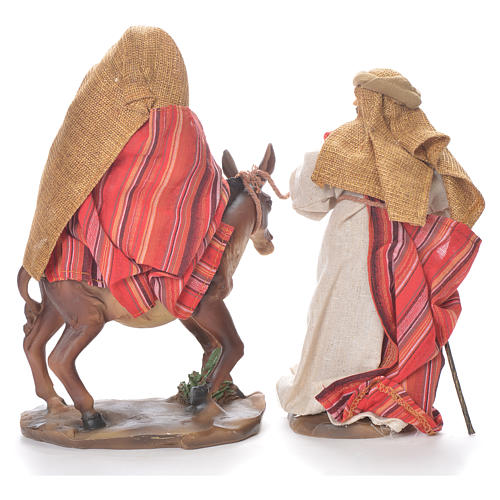 Flee from Egypt scene, 24cm in fabric and resin, red and beige colour 3