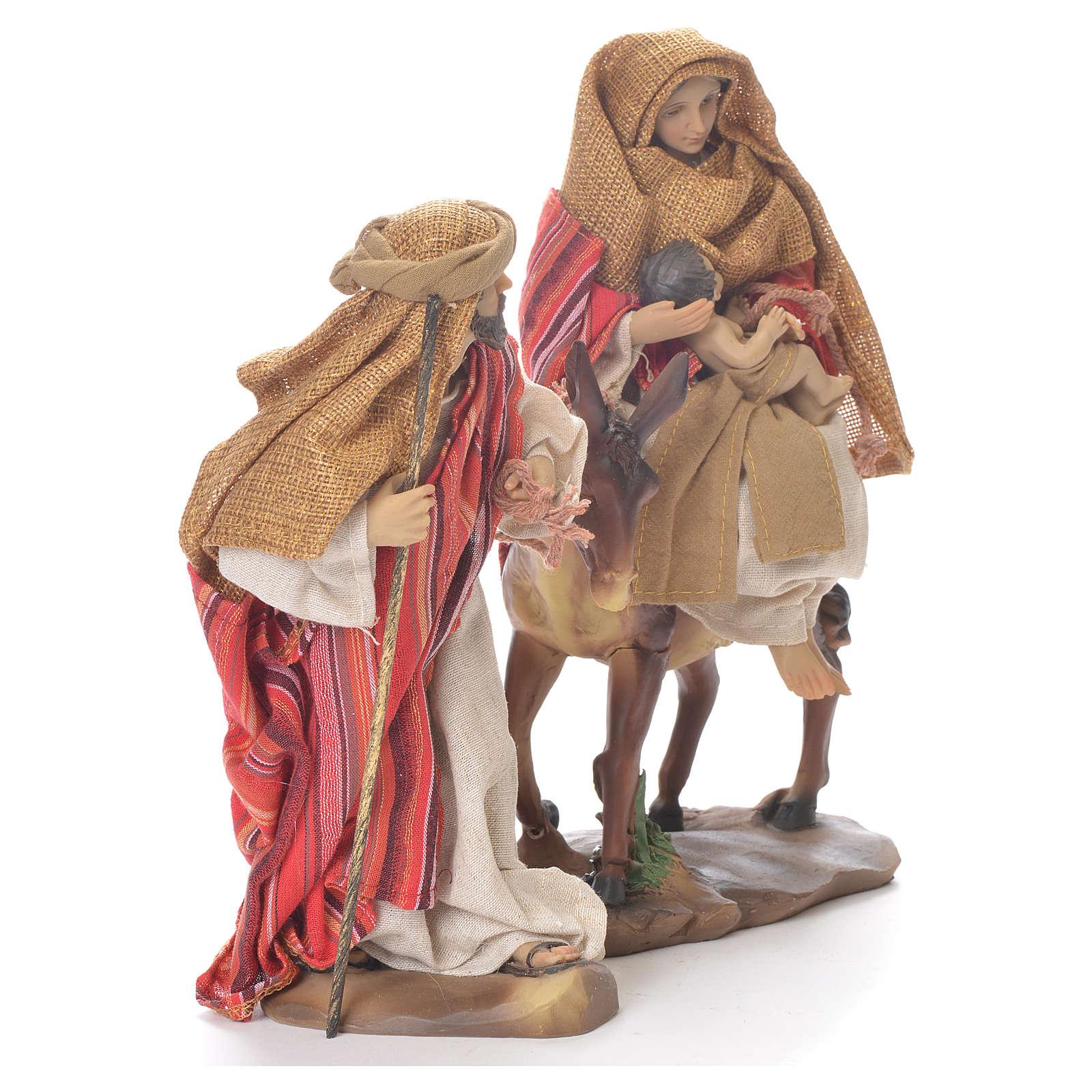 Fuite d'Egypte 24 cm résine tissu rouge beige 4