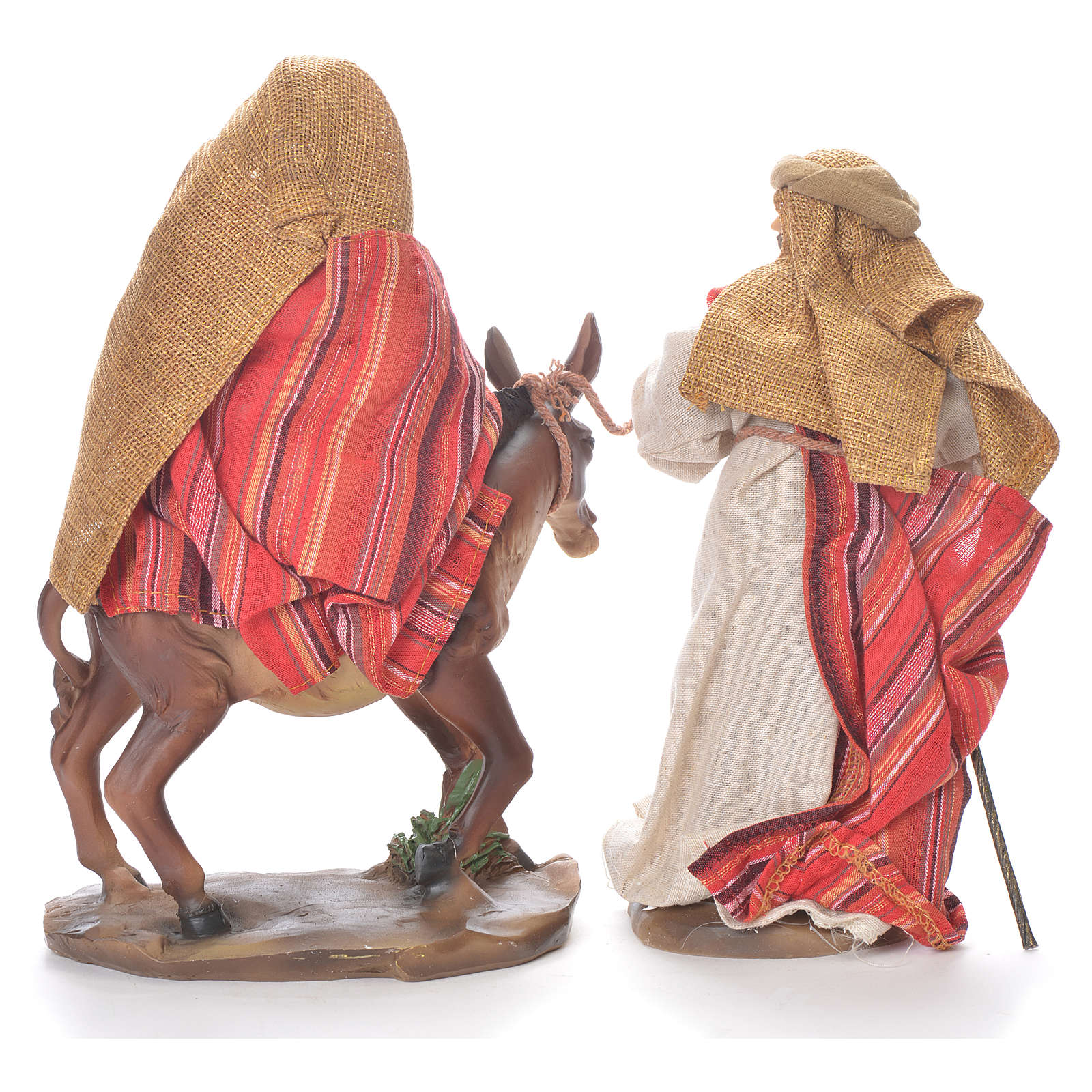 Flee from Egypt scene, 24cm in fabric and resin, red and beige colour 4