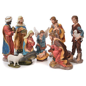 Resin and Fabric nativity scene sets: Complete nativity set in resin, 11 figurines 50cm