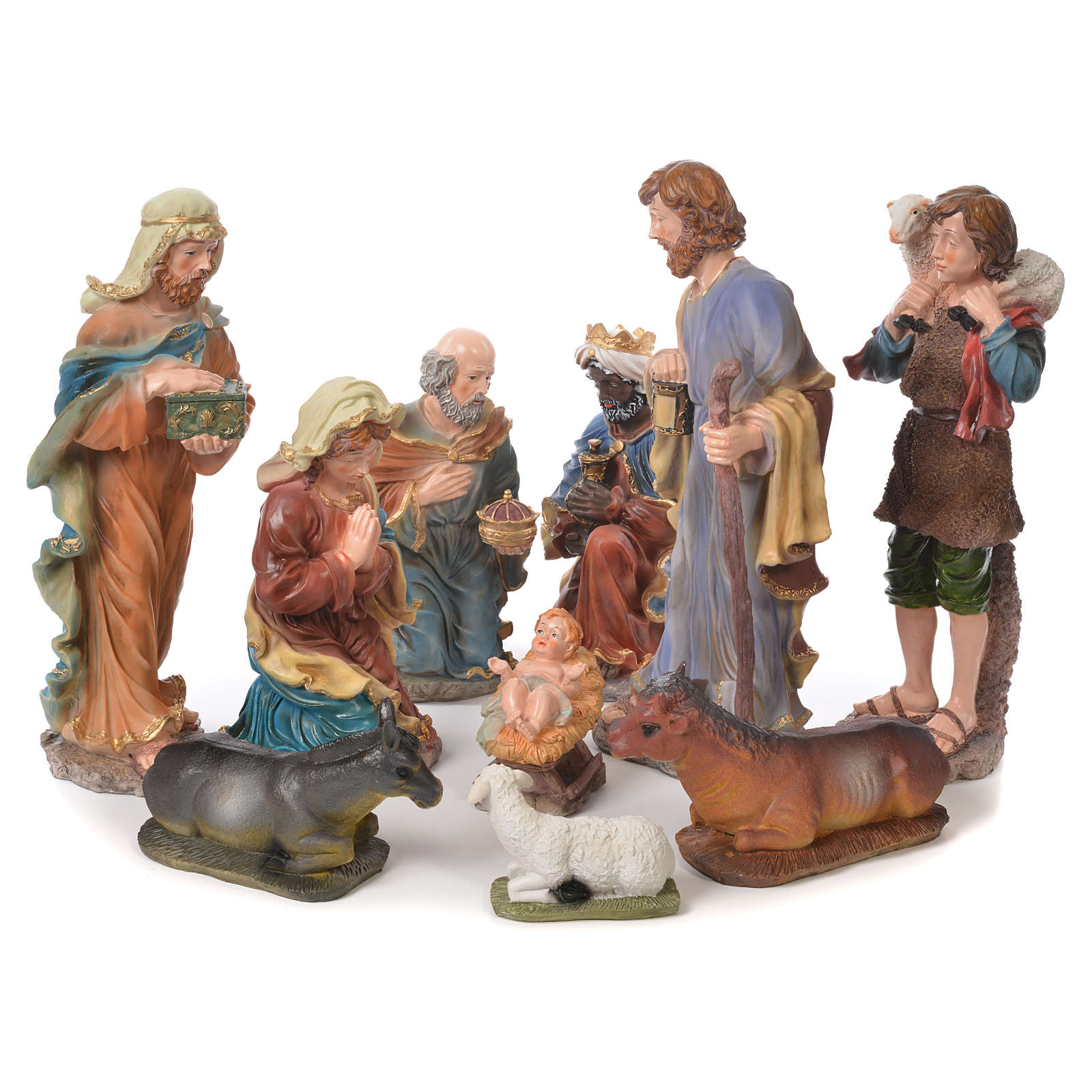 Nativity set in resin, 10 figurines measuring 44cm 4