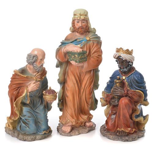 Nativity set in resin, 10 figurines measuring 44cm 3