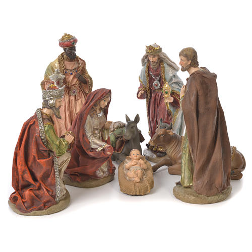 Complete nativity set in resin, 8 figurines 30cm 1
