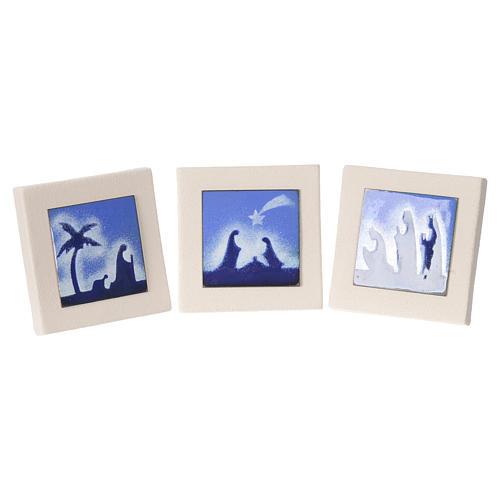 Triptych of blue scenes, Ceramics Centro Ave 10cm 1