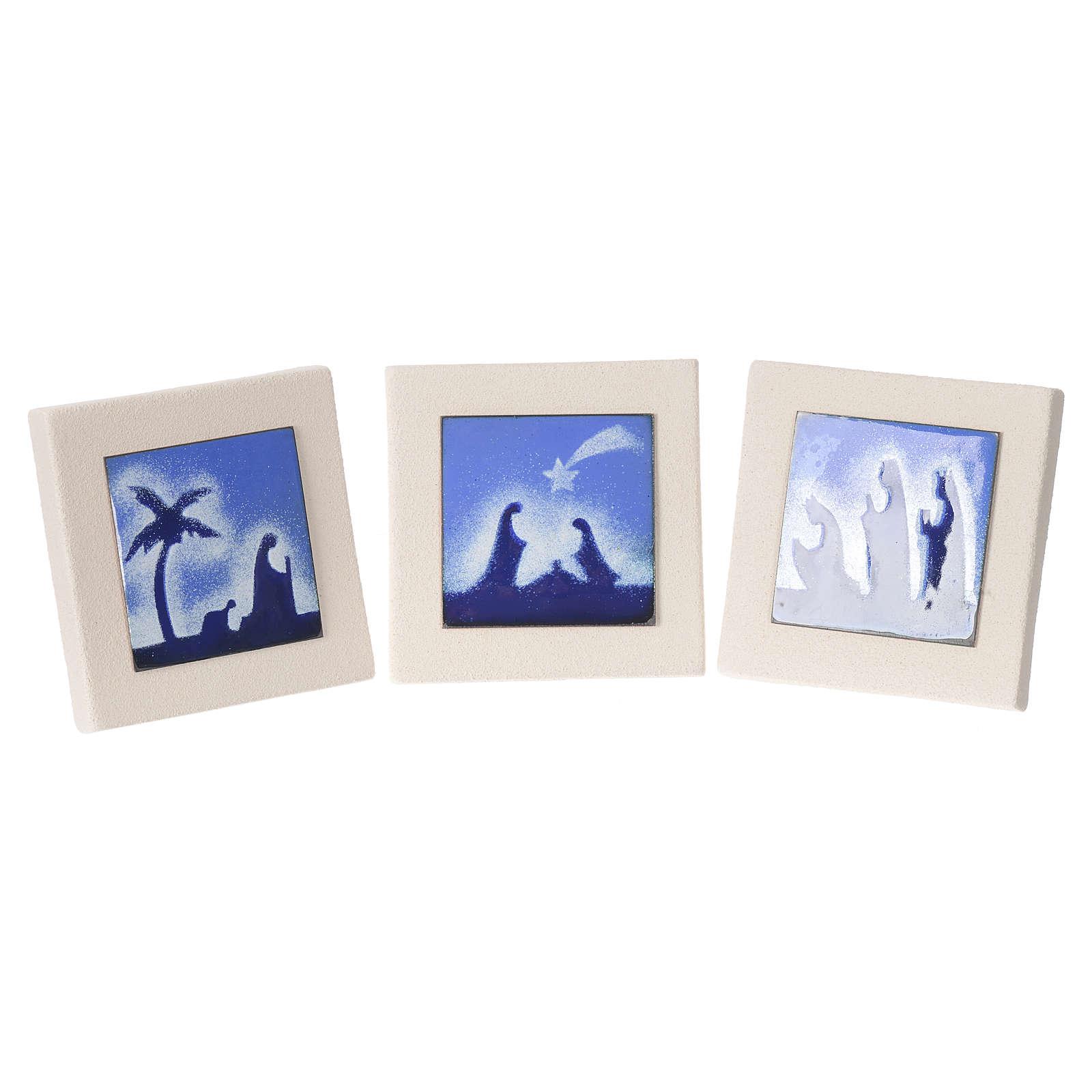 Tríptico quadros azuis argila Centro Ave 10 cm 4