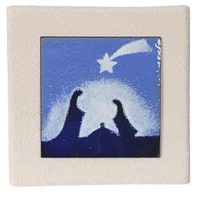 Stylized Nativity scene: Christmas scene in blue, Centro Ceramiche Ave 10cm