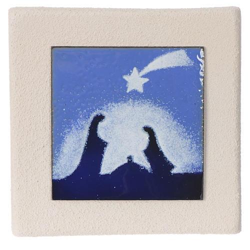 Cadre Noël bleu argile Centre Ave 10 cm 1