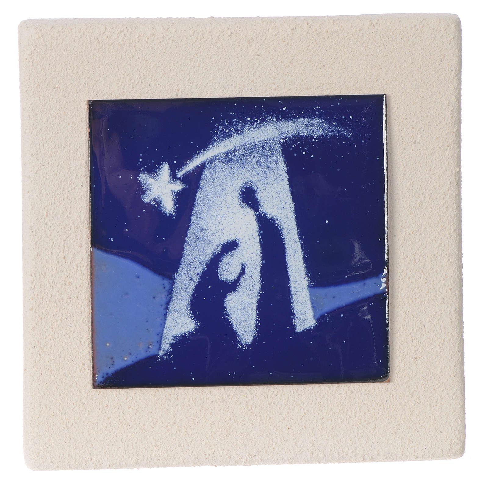 Quadretto Sacra Famiglia blu argilla Centro Ave 10 cm 4