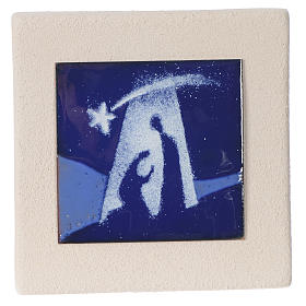 Quadretto Sacra Famiglia blu argilla Centro Ave 10 cm s1