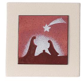 Crèches Noël stylisées: Cadre Noël rouge argile Centre Ave 10 cm