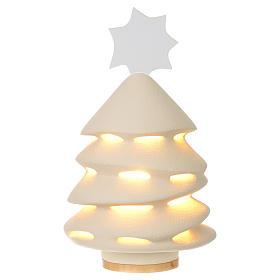 Enfeites de Natal para a Casa: Árvore de Natal Cerâmica Centro Ave 31 cm iluminado