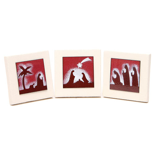 Triptych of red scenes, Ceramics Centro Ave 9.8cm 1