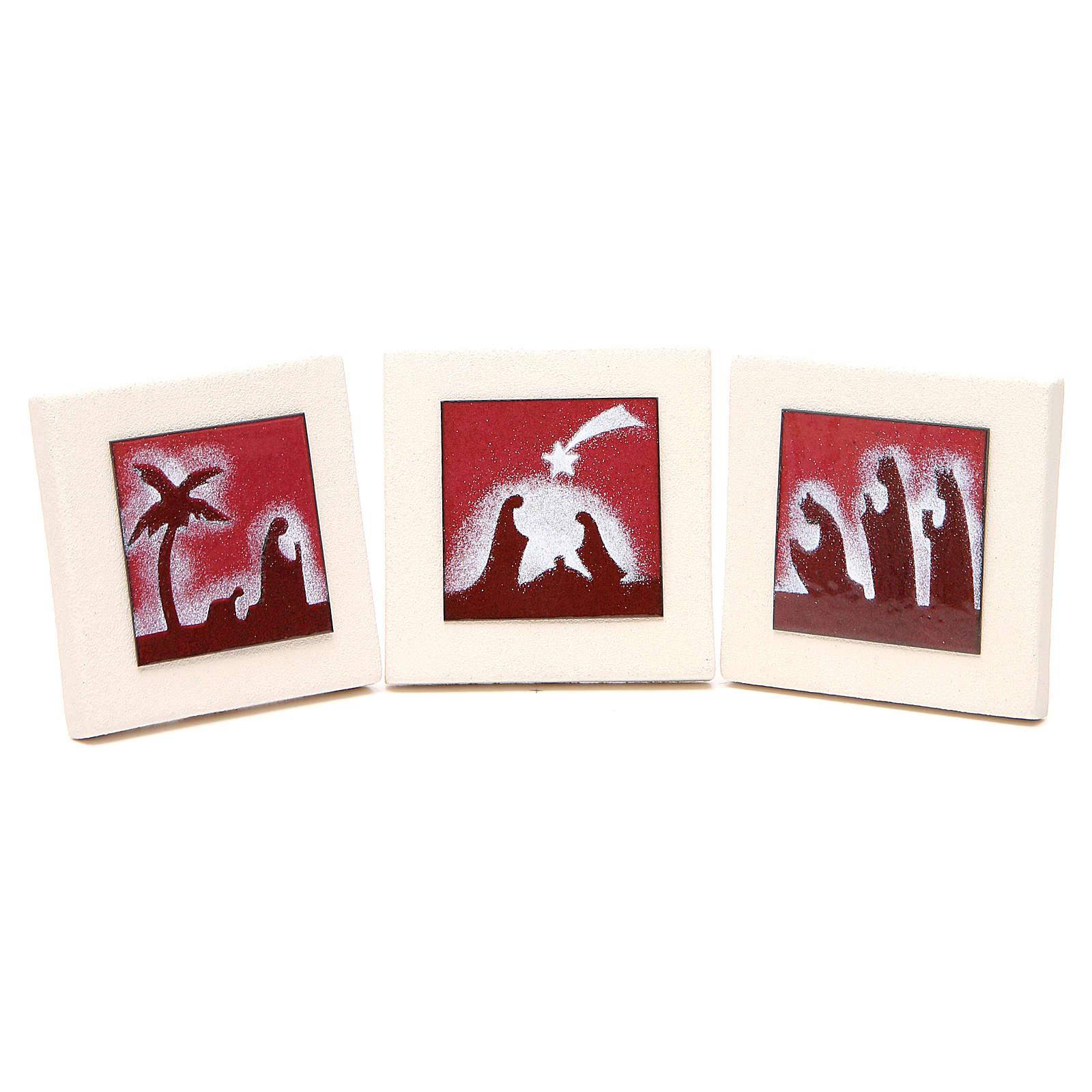 Tryptyk obrazki czerwone Centro Ave 9,8cm 4