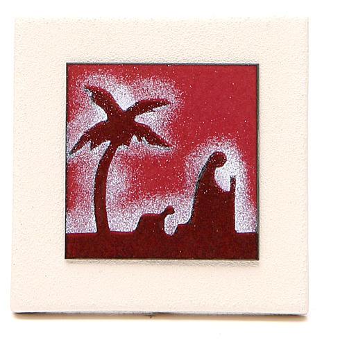 Tryptyk obrazki czerwone Centro Ave 9,8cm 3
