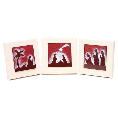 Tríptico quadros vermelhos argila Centro Ave 9,8 cm 1