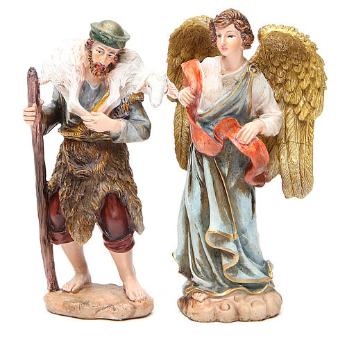 Complete nativity set in multicoloured resin, 11 figurines 20cm 6