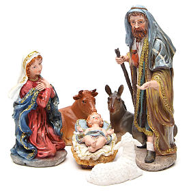 Resin and Fabric nativity scene sets: Complete nativity set in multicoloured, gold resin, 6 figurines 30cm