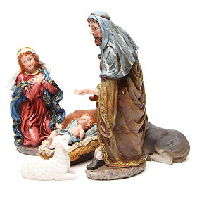 Complete nativity set in multicoloured, gold resin, 6 figurines 30cm s2