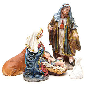 Complete nativity set in multicoloured, gold resin, 6 figurines 30cm s4
