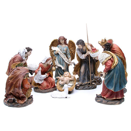 Nativity set in resin measuring 34cm complete with 11 characters 1