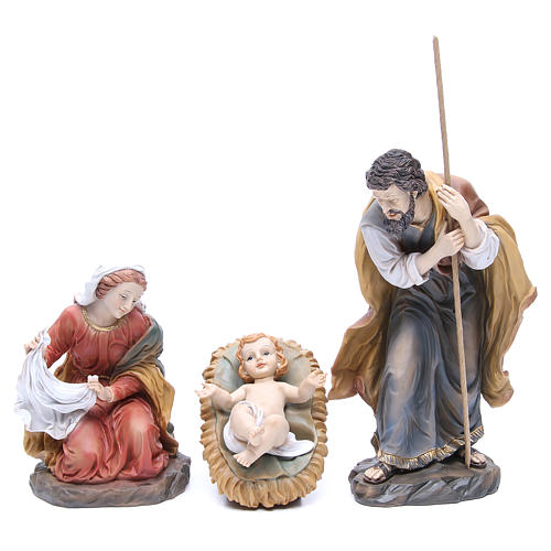 Nativity set in resin measuring 34cm complete with 11 characters 2