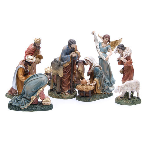 Complete nativity set in resin, 8 figurines 21cm 1