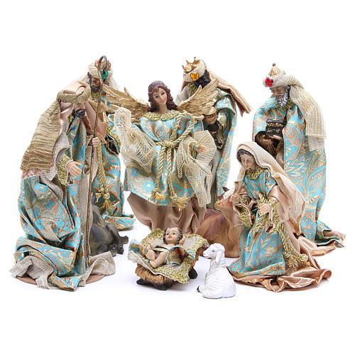 Nativity set in resin, 10 figurines measuring 25cm 1