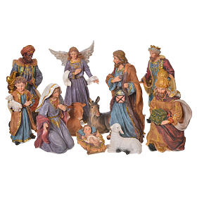 Resin and Fabric nativity scene sets: Complete nativity set in multicoloured resin, 11 figurines 27cm