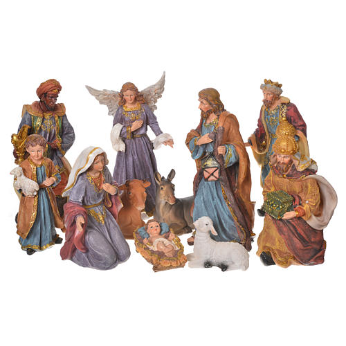 Complete nativity set in multicoloured resin, 11 figurines 27cm 1
