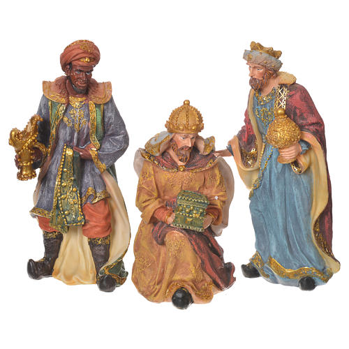 Complete nativity set in multicoloured resin, 11 figurines 27cm 6