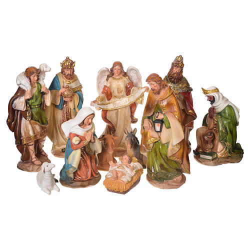 Complete nativity set in multicoloured resin, 11 figurines 31cm 1