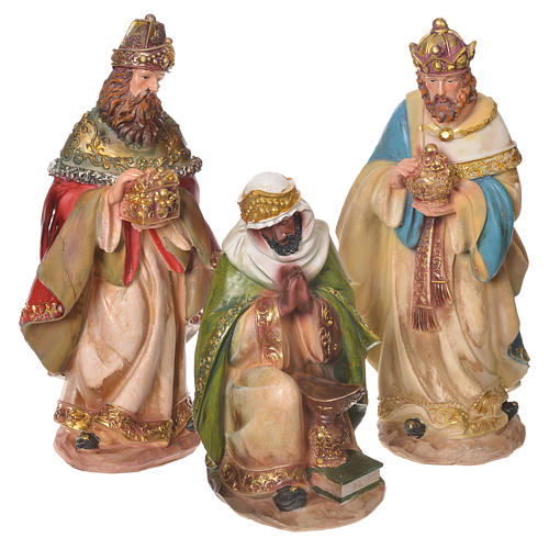 Complete nativity set in multicoloured resin, 11 figurines 31cm 6