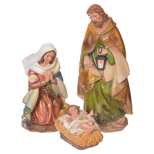Complete nativity set in multicoloured resin, 11 figurines 31cm 2