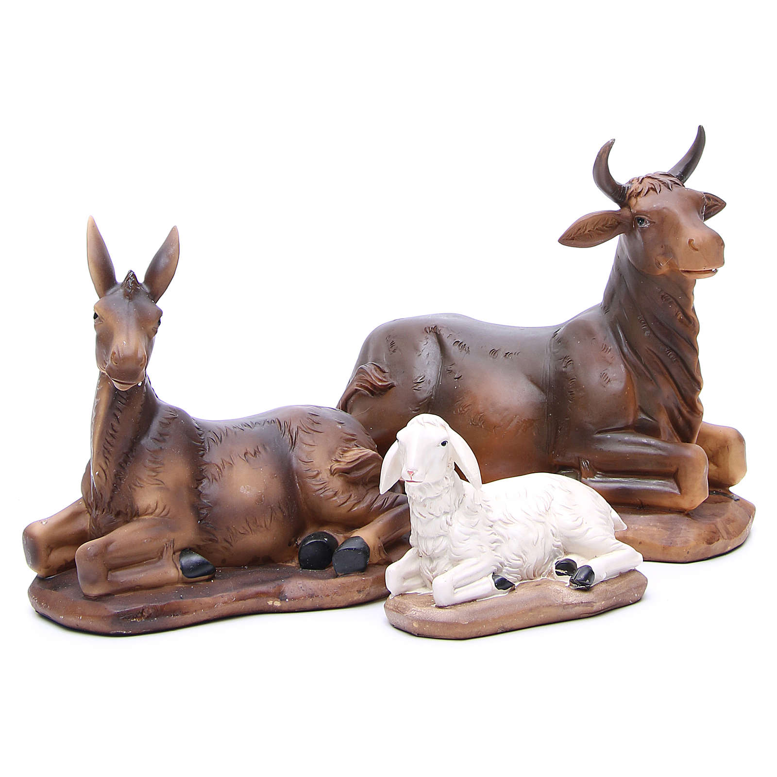 Nativity set in resin, 11 figurines 43cm wood-like finish 4