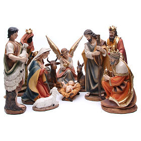 Nativity set in resin, 11 figurines 43cm wood-like finish s1