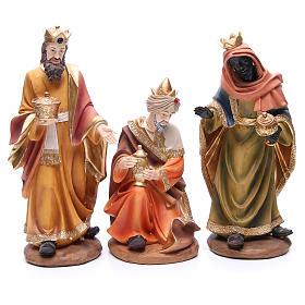 Nativity set in resin, 11 figurines 43cm wood-like finish s4