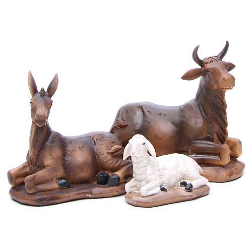 Nativity set in resin, 11 figurines 43cm wood-like finish 6