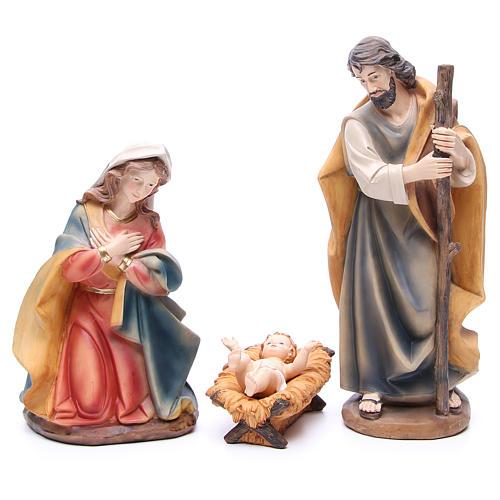 Presépio completo resina estilo madeira completo 11 figuras de altura média 43 cm 2