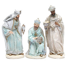 Nativity set in resin measuring 31cm, 8 characters with Blue Grey finish s4