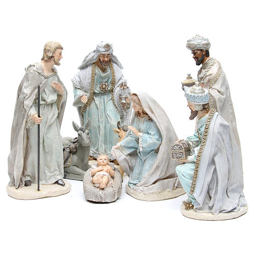Nativity set in resin measuring 31cm, 8 characters with Blue Grey finish 1