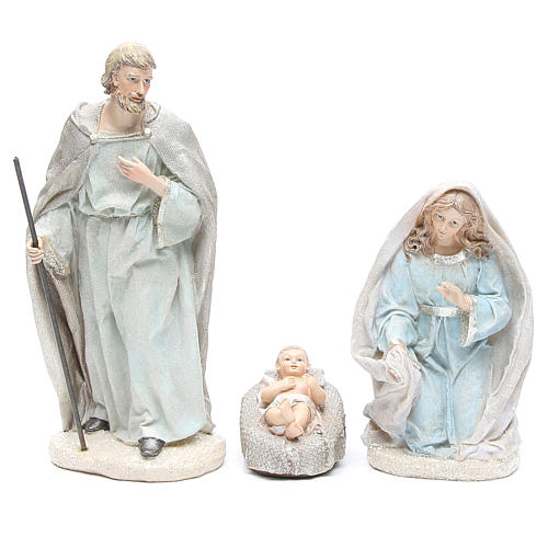 Nativity set in resin measuring 31cm, 8 characters with Blue Grey finish 2