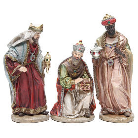 Nativity set in resin measuring 28cm, 8 characters with Multicoloured finish s4
