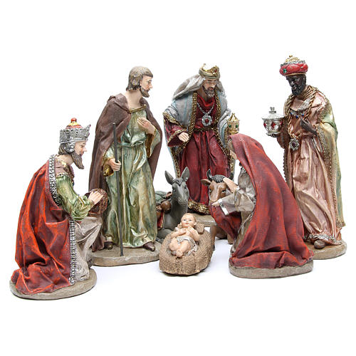 Nativity set in resin measuring 28cm, 8 characters with Multicoloured finish 1