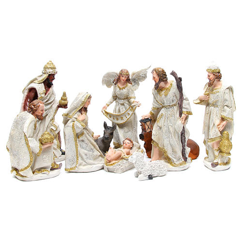 Complete nativity set in resin measuring 32, 10 characters 1