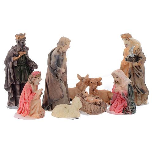 Mini nativity set in resin measuring 5cm, 9 figurines 1