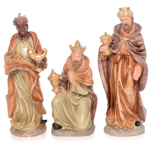 Complete nativity set measuring 50cm 11 figurines in painted resin 3