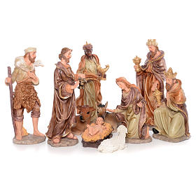 Complete nativity set measuring 50cm 11 figurines in painted resin s1