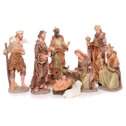 Complete nativity set measuring 50cm 11 figurines in painted resin 1