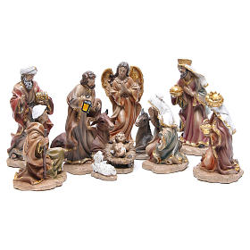 Resin nativity set measuring 20cm, 11 figurines in Wood-like effect s1
